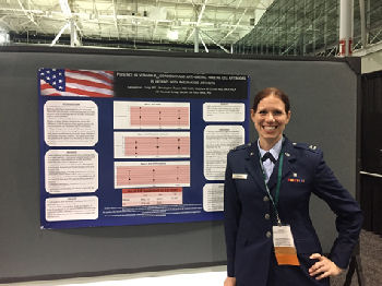 Capt Cassandra Craig presenting her research on Vitamin B12 deficiency in patients with rheumatoid arthritis.