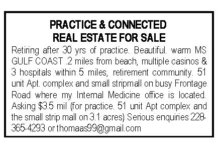 Practice and Connected Real Estate for Sale