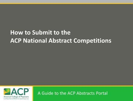 A Guide to the Abstracts Portal